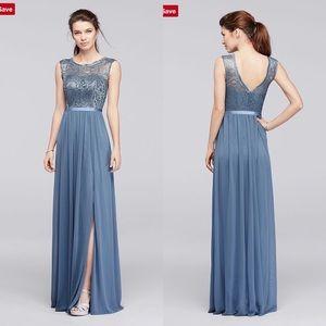 Davids Bridal Bridesmaid Dress F19328 Steel Blue 4